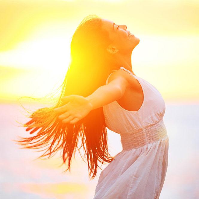 Emotionally balanced happy woman.